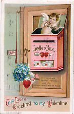"1913 Cupid Hiding in Mailbox Valentine Embossed Postcard ""True Love's Greeting"""