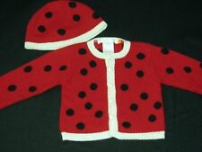 NWT Anne Geddes Ladybug Sweater Cardigan Hat Set 24 Months 2T Rare
