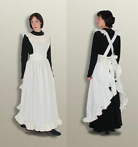 Viktorianische Schürze - SCHNEEWEISS, Reenactment Dienstmädchen Landhaus Maid