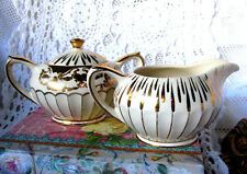 Sadler White and Gold Swirl Creamer and Sugar Bowl With Lid Circa 1940s