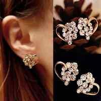 Fashion Womens Heart Earrings Jewelry Lady Crystal Rhinestone Gold Ear Stud Gift