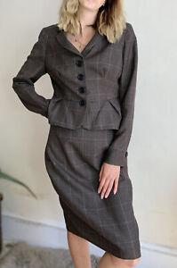 Amazing L.K.Bennett Suit Blazer Fitted Jacket Skirt Uk 14 Brown Check 100% Wool
