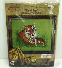 Paragon Crewel Needlecraft Kit Where's Papa Tiger and Cub Embroidery