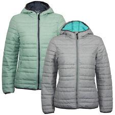 Ex Eu Chain Store Ladies Padded Light Winter Quilted Hoodie Full Zip Jacket