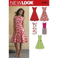 New Look Sewing Pattern 6094 Misses Pleated Skirt Dresses Size 8-18 Uncut New