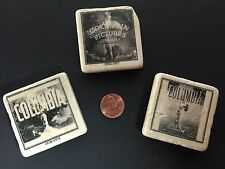 3 Vintage Columbia Pictures Stone Square Magnets Advertisement Logo ROGER MAYER
