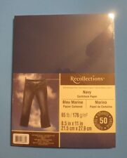 "NEW ~ RECOLLECTIONS ~ CARDSTOCK PAPER ~ 8.5"" X 11"" ~ NAVY ~ 50 SHEETS ~"