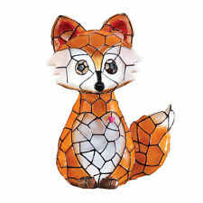 Fox Night Light Outdoor Garden Faux Stained Glass Mosaic Solar Animal Lights New