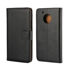 For Motorola Moto G5 Black Genuine Leather Business Wallet Card Case Cover