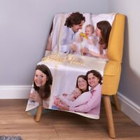 Large Warm Sofa Fleece Personalised Orange Stripes Photo Custom Fleece Blanket