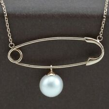 Genuine 18CT Rose Gold Natural Pearl Pin Style Necklace