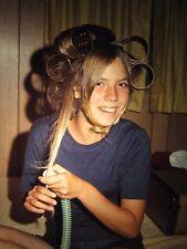 VINTAGE SUMMER OF 69 AUGUST TEEN HAIR FUN GIRL CURLERS ROLLERS KODAK SLIDE PHOTO