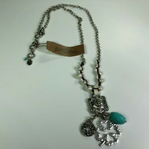 """Lucky Brand Silver Pearl Turquoise Semi Precious Accents Charm 24"""" Necklace NEW"""