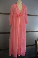 Evette Nightgown + Robe Double Chiffon Small Peignoir Set Accordion Pleat Pink