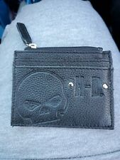 Harley-Davidson Women's Embossed Wille G. Skull Leather Zip Pocket Wallet Black