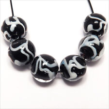 Lot 4 Round Beads glass Lampwork way Murano 0 15/32in Black