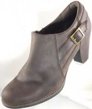 $129 Clarks Womens Size 10M Soft Brown Leather Zip Ankle Booties Round Plain Toe