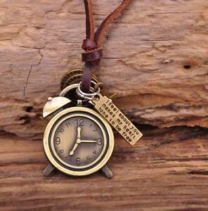 N153 Special Vintage Clock Men's Surfer Beach Leather Choker Necklace Adjustable