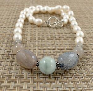 Mixed Gemstone & White Rice Freshwater Pearl Necklace 19''