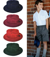 Kids Children Cotton Canvas School Bucket Hat with Adjustable Elastic and Toggle