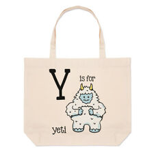 Letter Y Is For Yeti Large Beach Tote Bag - Alphabet Cute Animal Funny Shoulder