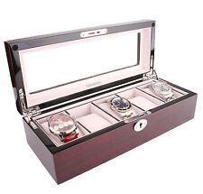 AXIS ® Rojo Cereza Brillante de Madera Almacenamiento Caja de reloj para 5 relojes