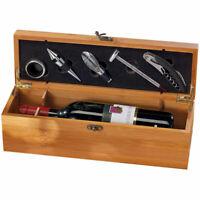 Wein Sommelier Geschenkbox Holz, Weinzubehör Geschenkset, Weinset Holzkiste