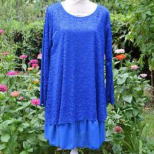 Tunique Robe Femme Grande Taille 44 46 48 dentelle bleu Estelle ZAZA2CATS new