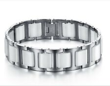 Fashion Heathly white ceramic Titanium steel Magnetic Therapy Bracelet 18mm 21cm