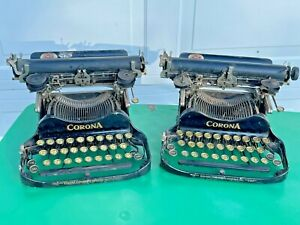 (2) Antique Corona Portable Typewriters - For Restore - EARLY TYPEWRITERS!