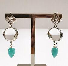 Vintage Art Deco Pools Of Light Peruvian Amazonite Sterling Pierced Earrings