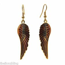 """Southwest style Gold Wing Earrings with Lavendar & Burgundy Accent 2 1/2"""" Drop"""