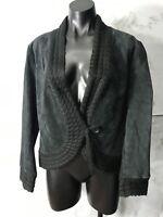 Coldwater Creek Size Petite M Black Leather Jacket Blazer One Button Knit Trim