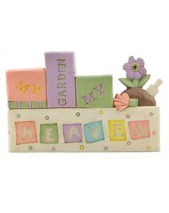 MY GARDEN MY HEAVEN Figurine Block Home Decor Blossom Bucket Resin Gardner Gift
