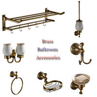 Bathroom Antique Brass Toilet Brush Ceramic Siap Cup Holder Towel Ring Rack Hook
