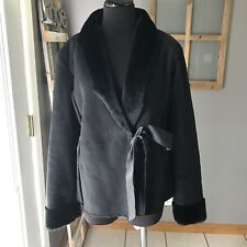 Kensie Black Poly Acrylic Faux Fur Trimmed Lined Satin Belt Winter Coat 6 MINT
