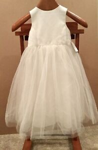 Davids Bridal Satin Flower Girl Dress with Tulle Skirt Size 2T Ivory S1038 NWT