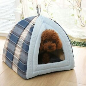 Warm Cat Bed House Lovely Foldable Puppy Winter Bed House Kennel Fleece Soft