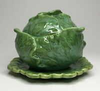 Vintage 1960's Holland Mold Cabbage Serving Bowl w/ Lid And Saucer Under-plate