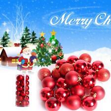 24x Christmas Tree Xmas Balls Decoration Baubles Parties Wedding Ornament Red GA