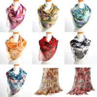 Fashion Womens Leaves Print Long Georgette Silk Scarf Lady Shawl Soft Hijab Wrap