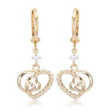 Girls Kids Safety Baby Heart Hoop Earrings dangle 14K Gold Filled Crystal