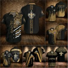 New Orleans Saints Summer Football Shirt Casual Short Sleeve Button-Down T-Shirt