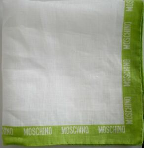 New MOSCHINO Solid White with Green Logo 100% LINEN Pocket Square Handkerchief