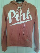 BNWT Victoria's Secret Pink orange Small Hoodie full Zip top Jacket UK 6-8