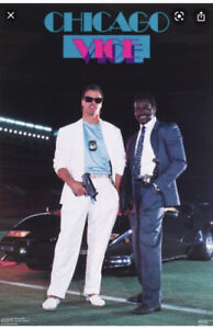 Vtg 1987 Jim McMahon Walter Payton Miami Vice Poster Costacos Chicago Bears 80s