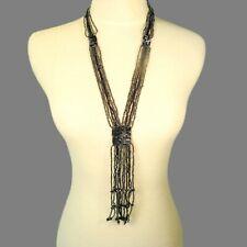 "25"" Black Hematite Bling Tassel Handmade Seed Bead Non Metal Necklace"