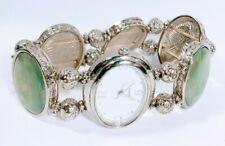 Women Fashion Casual Watch Green Albone Bracelet Band Silver Case White Face