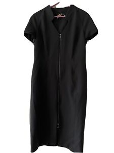 Stunning Black Dress With Zip Front From Marks And Spencer Size 14