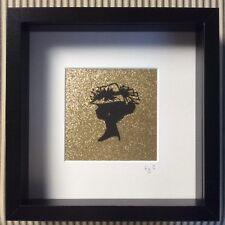 Lady camafeo silueta/Caja de imágenes brillantes oro marco 25cmx25cm Colgante De Pared